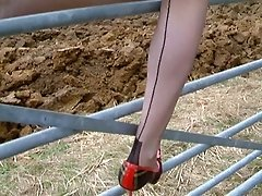 Mature Long Legged Lady Outdoors